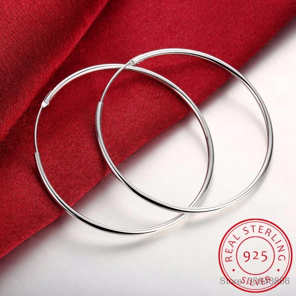 100% 925 Sterling Silver Hoop Earring For Women 50mm 60mm Round Circle Loop Simple Woman Silver Hoop Earrings