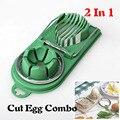 1 pcs 2 Em 1 Cortador de Ovo de Aço Inoxidável + ABS colorido Molde Ovo Sectione Slicer Multifunction Cozinha Egg Slicer Cortador molde