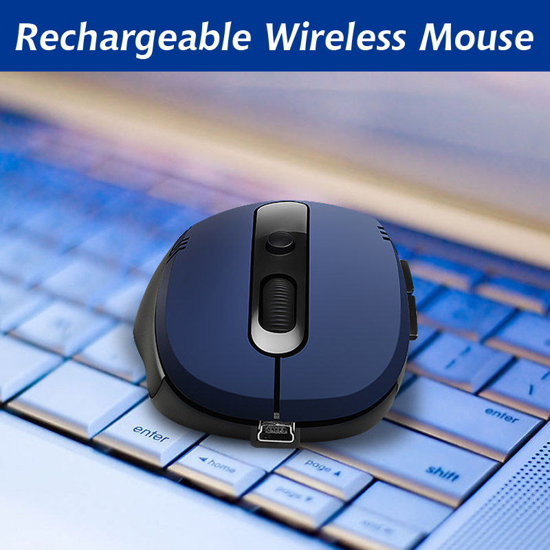Rechargeable Wireless Silent USB Optical Ergonomic Gaming Mouse for Laptop PC HA