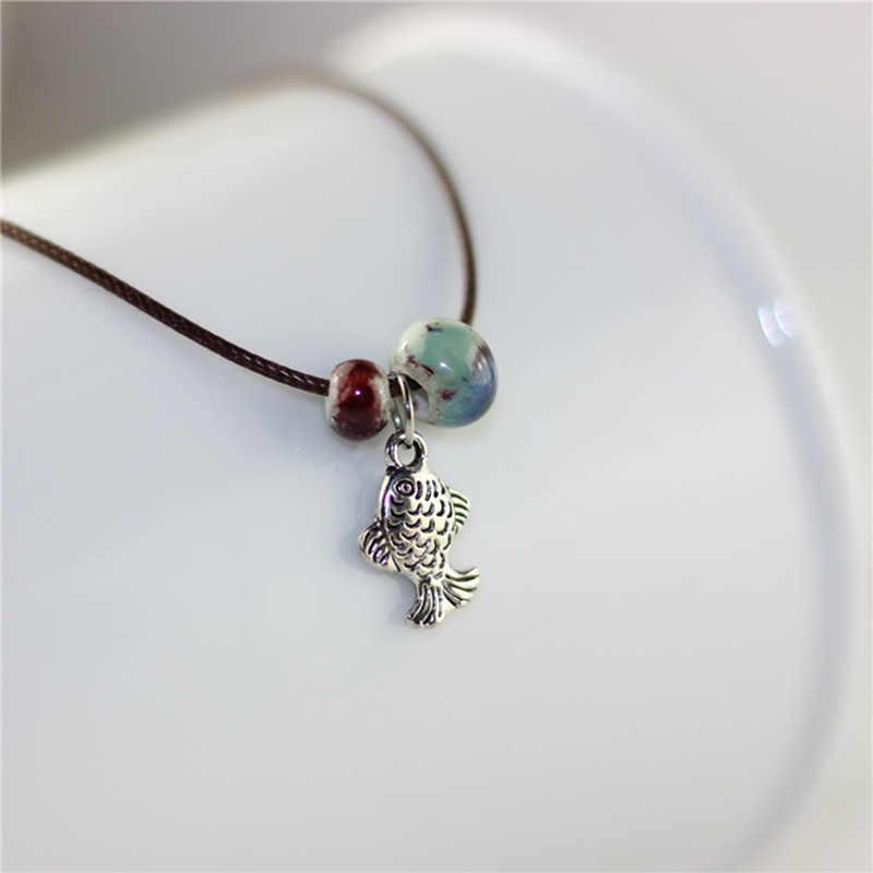 Brązowy liny czeski obrączki Chain ceramika koraliki łańcuchy boso stóp kobiety/mężczyźni kolor srebrny wisiorek z rybą Charm bransoletka biżuteria