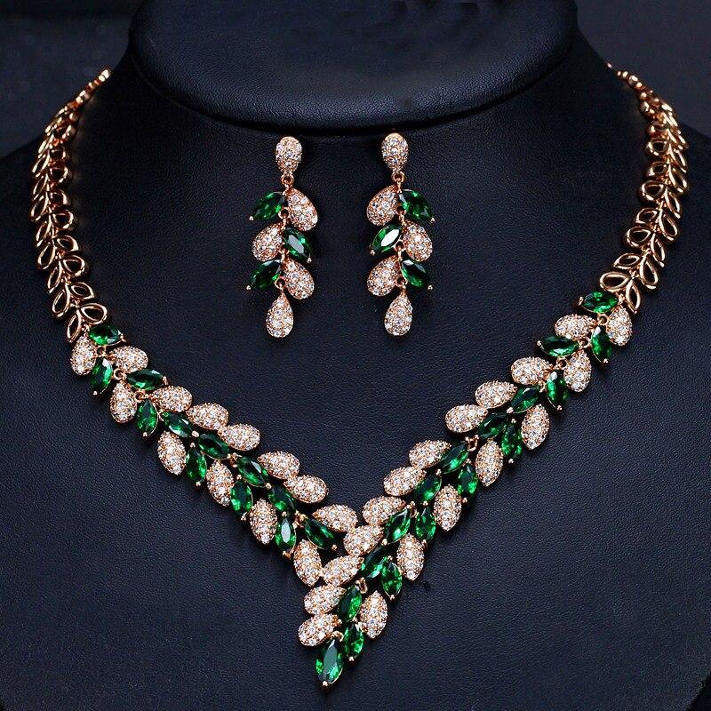 Feuille poire cristal Zircon or Rose Pated oreille bijoux ensemble boucle d'oreille collier pendentif M02-T0120