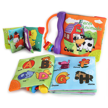 Baby Soft Cloth Books Washable Rustle Sound Hand Book With Teether Baby Early Education Puzzle Toy Learning English #F