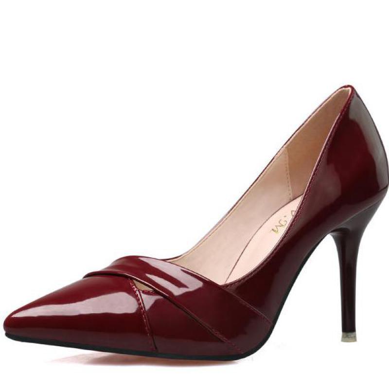 2016 Nuove Donne di Modo Pompe Hollow Red Inferiori Tacchi Alti Bocca superficiale Zapatos Mujer Tacon Donna Scarpe A Punta 6 colori