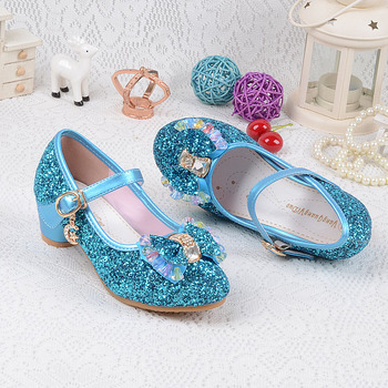 Children's Sequins Shoes Enfants 2019 Baby Girls Wedding Princess Kids High Heels Dress Party Shoes For Girl Pink Blue Gold 2