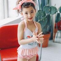 EMS DHL Free Shipping NEW Kids Stylish Baby Girls Suspender 2pc Separated Beachwear Bath Suit Swim