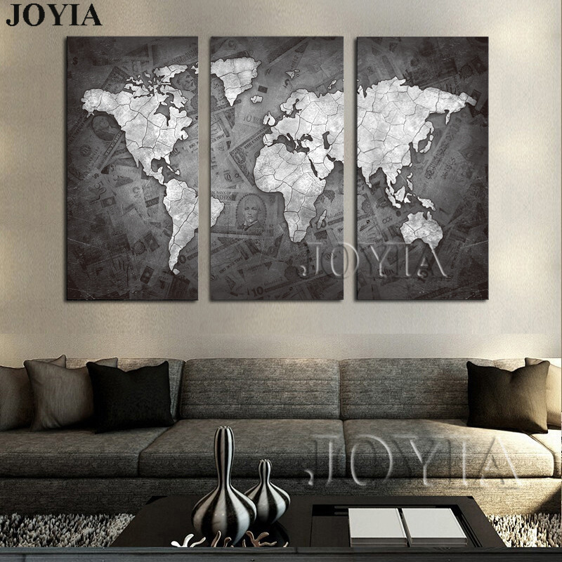 Large world map wall art canvas black metalic modern paintings large world map wall art canvas black metalic modern paintings globe maps on money background home decor poster 3 piece no frame gumiabroncs Images