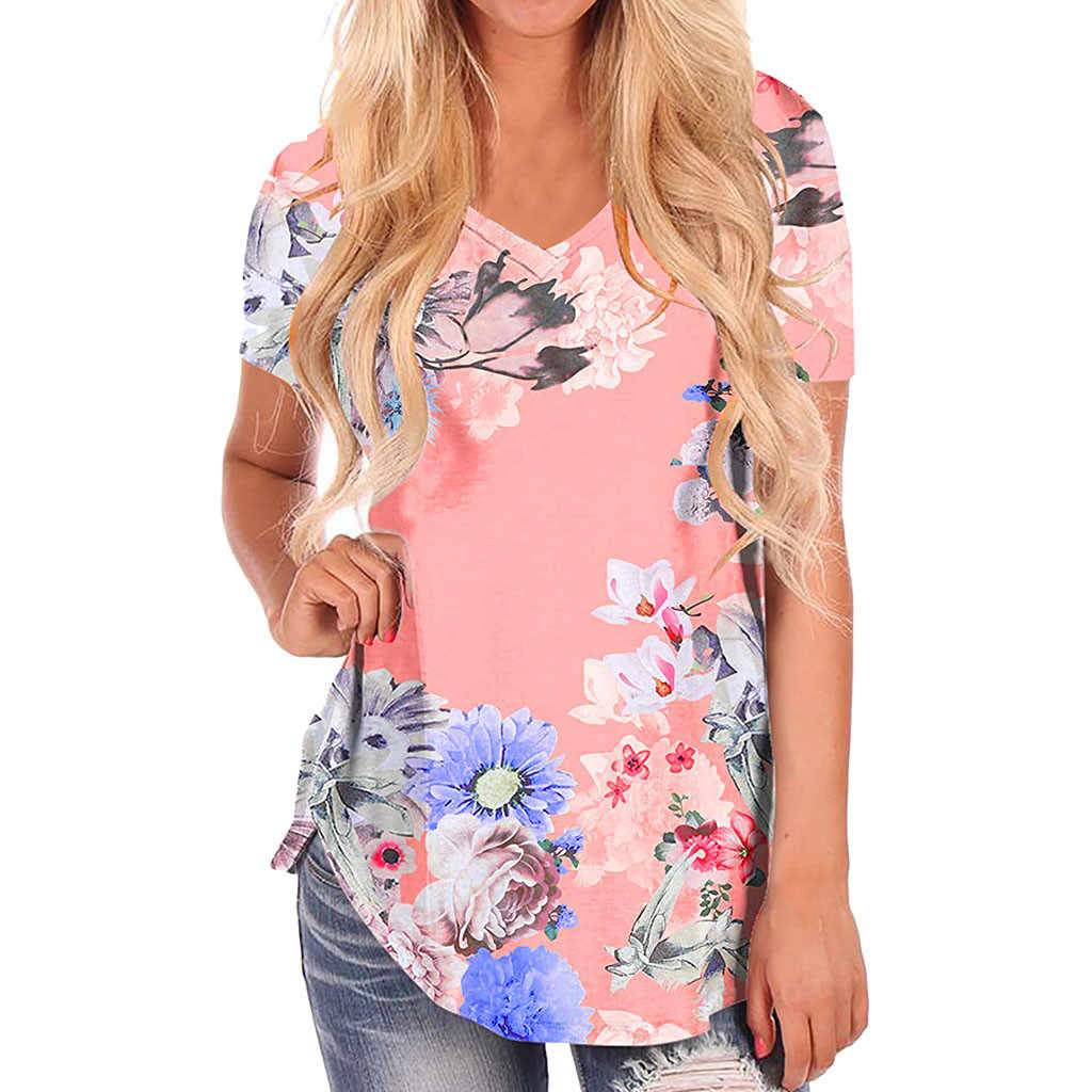 Short Sleeve women summer top 2019 V-Neck women's clothing summer Floral Print Loose Casual Tee T-Shirt Tops #G6