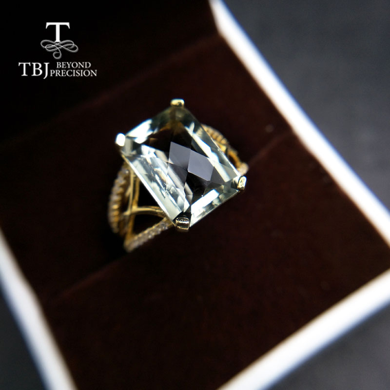 TBJ,Luxury natural green amethyst 7.5ct gemstone Ring in 925 sterling silver fine jewelry for women with box anniversary gift