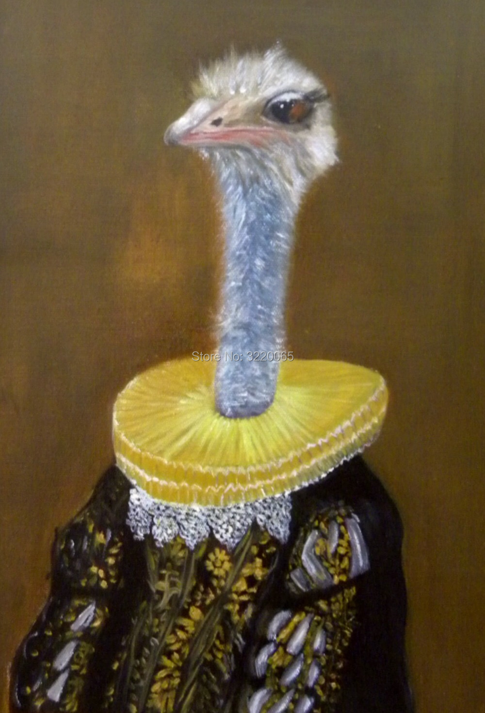 "Oil painting 100% pure hand-painted Copying of the surrealistic ""The ostrich in a <font><b>dress</b></font>""Cicada oil painting Welcome to custom"
