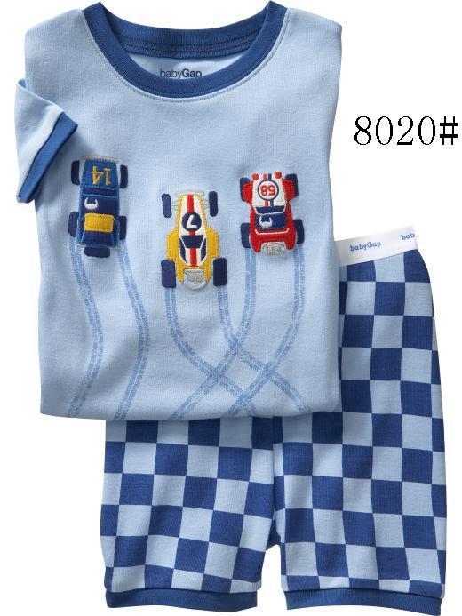 Оптовая продажа 2 локонов/лот Лето 2017 г. детские для маленьких мальчиков одежда для сна для девочек пижамы из хлопка с коротким рукавом пижам...