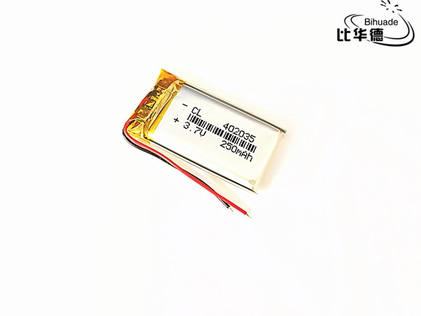 100 pièces 3.7V,250mAH,402035 PLIB polymère lithium ion / Li-ion batterie pour GPS,mp3,mp4,mp5,dvd,bluetooth, modèle jouet mobile bluetooth