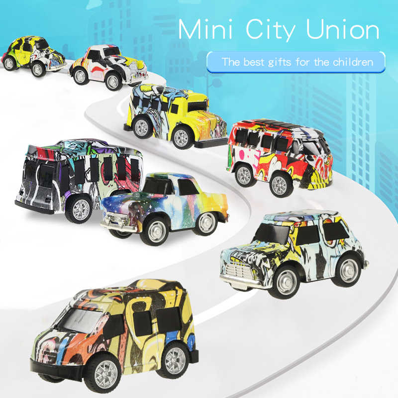 8 PCS/Set Mini Graffi Diecast Car Alloy Pull Back Vehicles Model Toy Metal Lovely Doodle Colorful Toys Alloy Car For Kids Gift