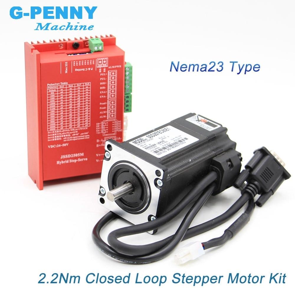 Freies verschiffen! Nema 23 2.2N.m Geschlossen Schleife Stepper Motor kits 2,0 Nm 285Oz-in Nema23 schrittmotor und treiber/servo motor kits