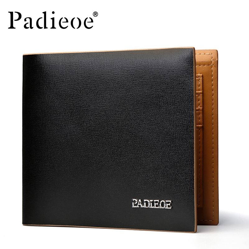 Padieoe New Designer Mens Small  Leather Wallet  Quality Black Coin Pocket Purse ID Credit Card Holder Wallet Free Shipping 2017