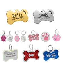 Dog Tag ID Con Incisione In Metallo Su Misura Tag Pet Piccolo Cane di Grandi Dimensioni Accessori Personalizzati Bone Zampa Nome Tag Piatto Decorazione Del Collare(China)