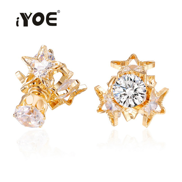 IYOE IYOE Modern Shiny Crystal Stud Earrings For Women New Fashion Double Face Gold Color Wedding Earring Cocktail Jewelry