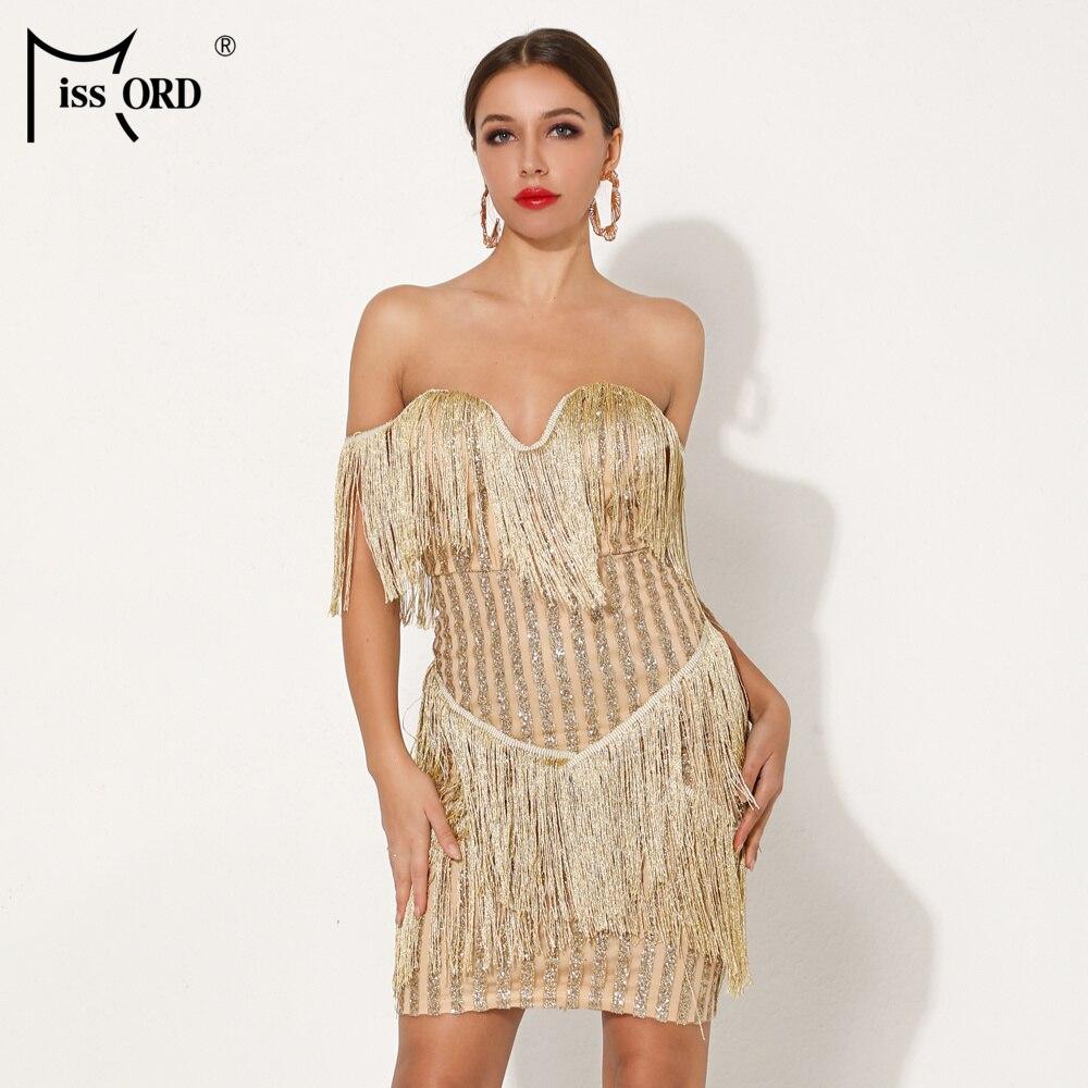 Missord 2019 femmes été Sexy soutien-gorge rayé paillettes robe femme épaule dénudée robe élégante Mini gland robe Vestdios FT19030-3
