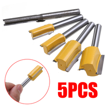 5PCS High Hardness 1/4 Shank Trimmer Milling Cutter Woodworking Router Bit For Wood Plywood Straight Bits Set
