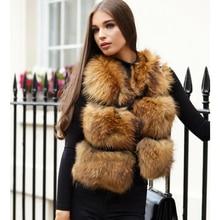 女性リアルラクーンの毛皮のベスト 100% BFFUR リアルファーベスト女性の秋の冬の毛皮のチョッキ公園無地毛皮のコート