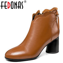 FEDONAS 1New Women Ankle Boots Autumn Winter Warm Genuine Leather High  Heels Shoes Round Toe Concise 36e6390d015a