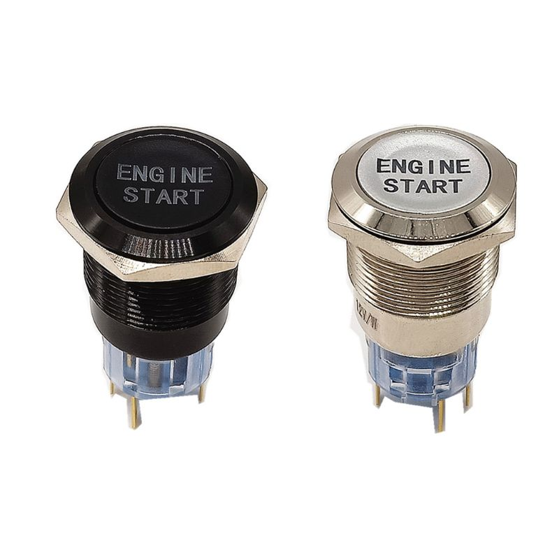 Engine Start Switch 12V Waterproof Car Engine Start Push Button Switch Ignition Starter Zinc-Aluminium Alloy Black