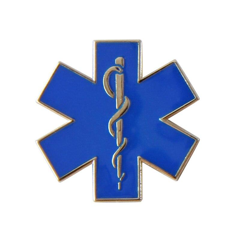 Custom star of life pin nursing ambulance paramedic 100pcs lot
