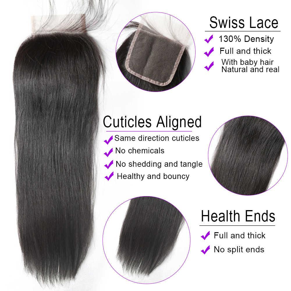 """Alibd 4*4 Бесплатная средняя три части кружева закрытия прямой натуральные волосы закрытия 8-20 """"перуанский Швейцарский на сетчатой основе с ребенком волос"""