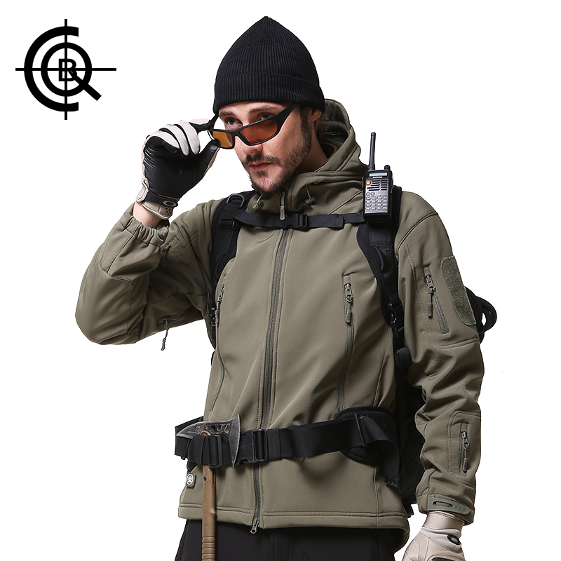 ФОТО CQB Brand Outdoor Sport Tactical Jackets Men Clothes Camping Climbing Hiking Jackets Softshell Fleece Waterproof Coat SY0015
