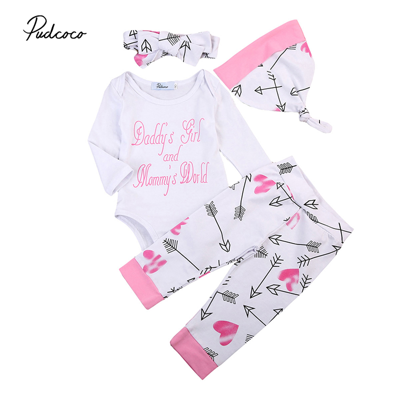 4PCS Newborn Baby Girl Clothes 2017 Autumn Long Sleeve Letter Print Romper Tops+Pant Hat Headband Outfit Toddler Kids Clothing