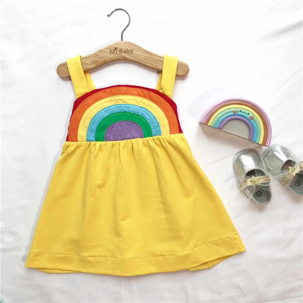 SAGACE תינוק שמלת פעוט ילדים תינוקת מוצק קשת נסיכת רצועה מקרית שמלה קיצית קיץ ללא שרוולים כותנה O-צוואר