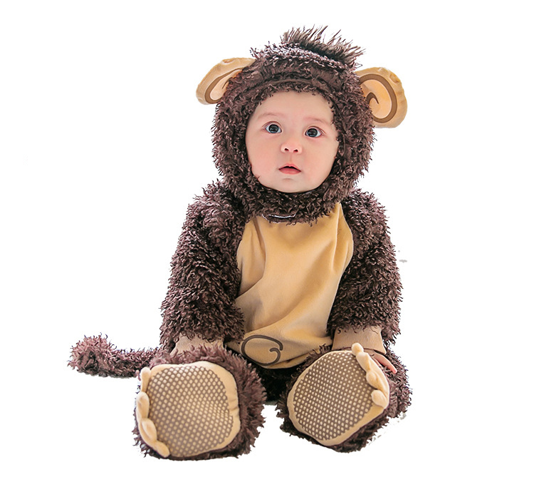 Spring Winter Baby Monkey Costume Breathable Hooded Rompers