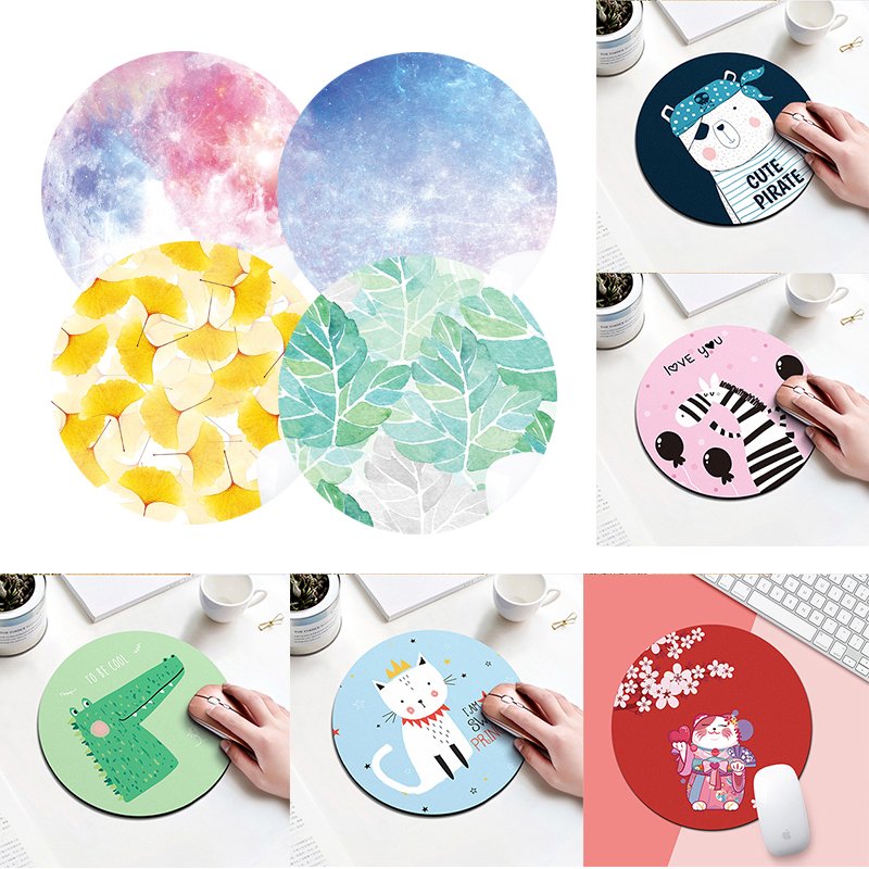 Cartoon Animal figure Mouse Pad Round Mousepad Office Mice Pad Rubber Home Computer Anti-slip Table Mat Study Room PC 20X20 cm