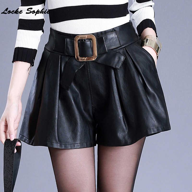 Hoge taille shorts vrouwen lederen brede been shorts 2019 Lente faux fur PU ledere shorts Dames Skinny Leatherwear shorts meisjes