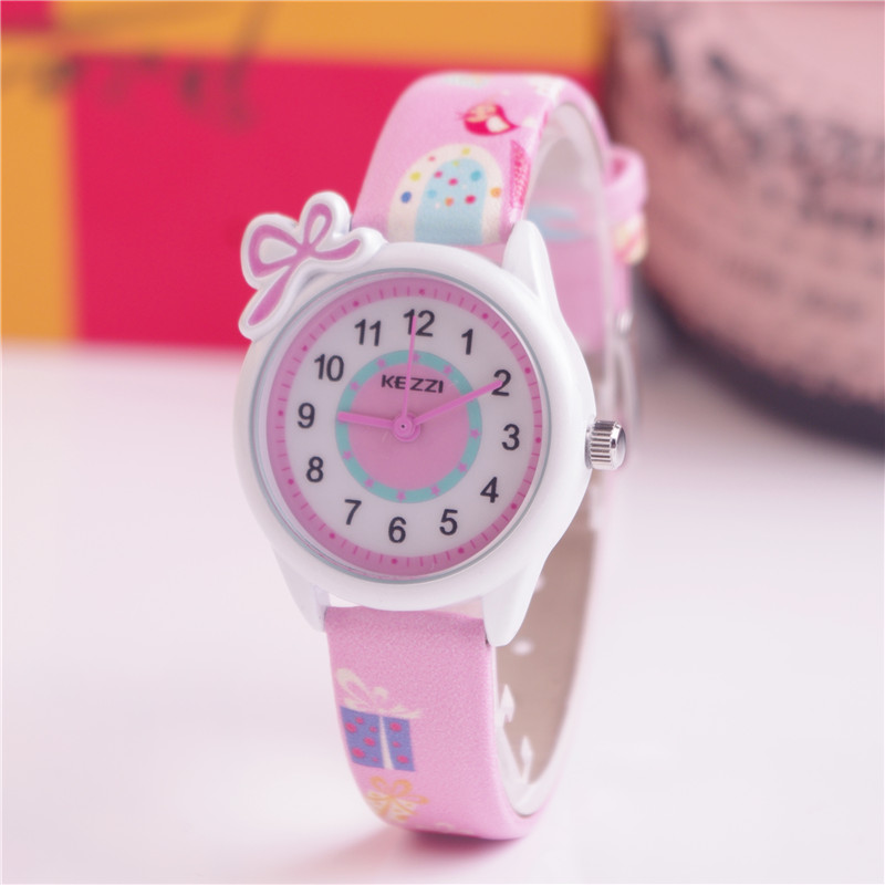 2016 Kezzi Top Brand Kids Children Fashion Watches Quartz Analog Cartoon Leather Strap Wrist Watch Boys Girls Waterproof K1423