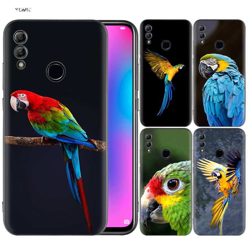 Silicone Cover <font><b>Case</b></font> for Huawei <font><b>Honor</b></font> 10 <font><b>9</b></font> <font><b>Lite</b></font> 8X 8C 8A Y6 Y7 Y9 7A Pro Prime 7C 2018 2019 V20 Funny Parrot <font><b>Blue</b></font> Color image