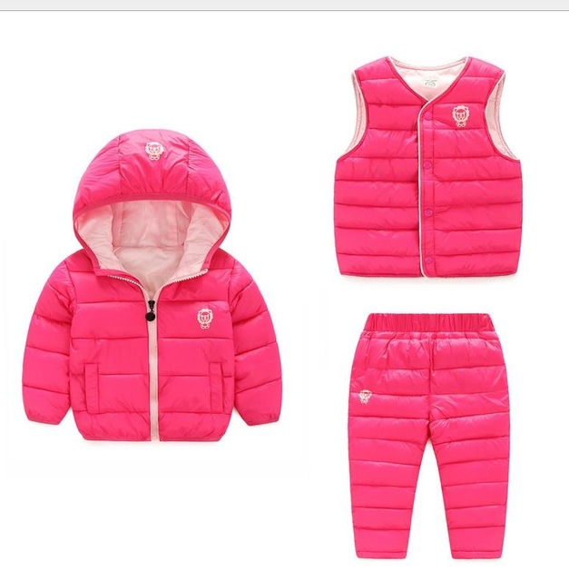 3 Pcs/1 Lot Winter Baby Girls Boys Clothes Sets Children Down Cotton-padded Coat+Vest+Pants Kids Infant Warm Outdoot Suits children winter coats jacket baby boys warm outerwear thickening outdoors kids snow proof coat parkas cotton padded clothes