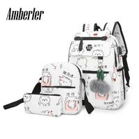 Amberler Canvas Women Backpack Ladies Printed Travel School Backpacks For Teenage Girls High Quality Large Capacity Laptop Bags