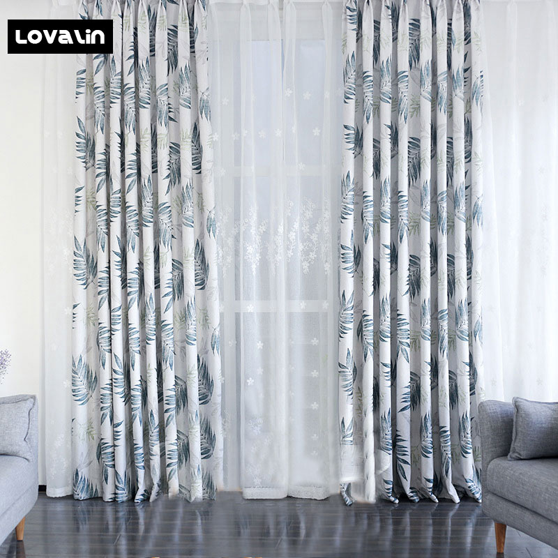 Lovalin Leaves Print Curtains Bedroom Living Room Tulle Curtains Cloth Curtains Home Window Decoration Voile Sheer Draps Panel