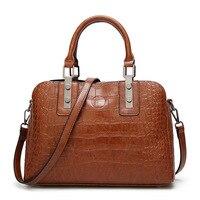 CAlligator Bag Women Handbag Cow Split Leather Embossed Female Handbags Solid Color Elegant Fashion Ladies Handbags