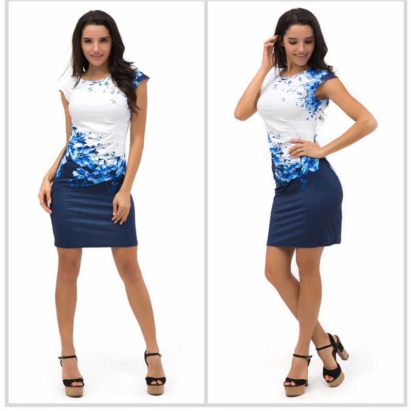 Dresses Sexy Short-Sleeve Hip-Pencil Bodycon Print Slim Office Lady Plus-Size Women Summer