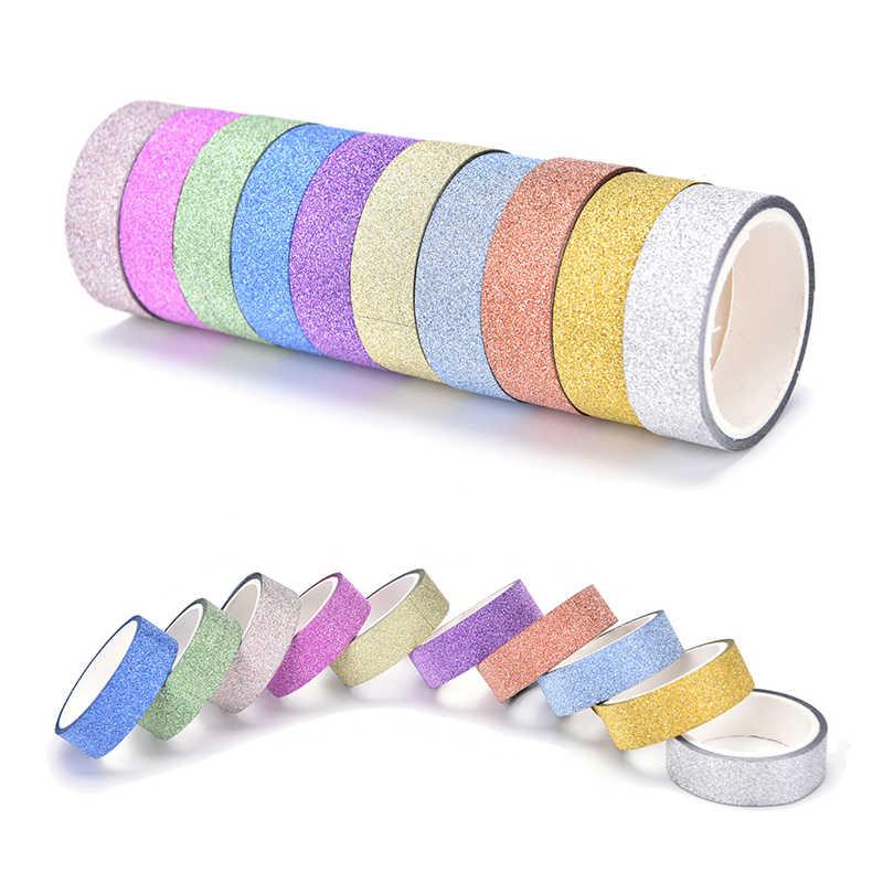 10 ロール/ロット 3 メートルグリッター和紙ステッカー紙マスキング粘着テープラベルクラフト Diy の装飾ランダムな色