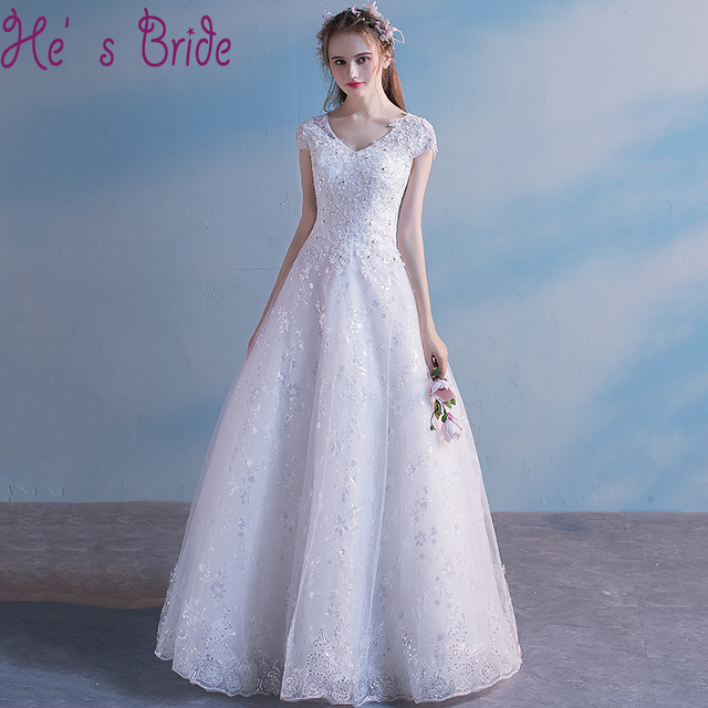 Wedding Dress Elegant White V Neck Short Sleeves Organza Lace Floor ...