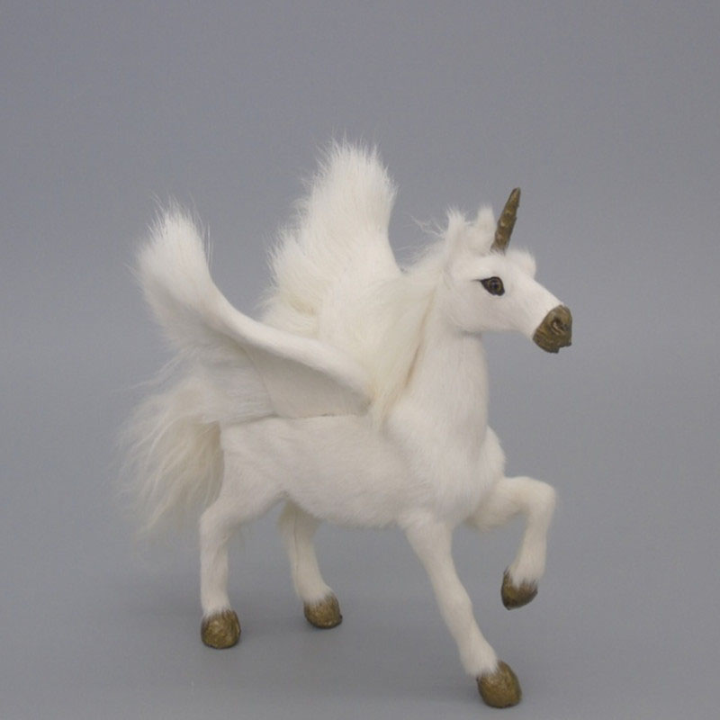 Novelty Simulation Unicorn Toys Real Fur Pegasus Dolls Flying Horse Toys for Kids Children Creative Animal Model Home Decoration hi ce new arrival mechanical horse kawaii animal ride on horse lion rode on horse kids toy for children adult new year gifts