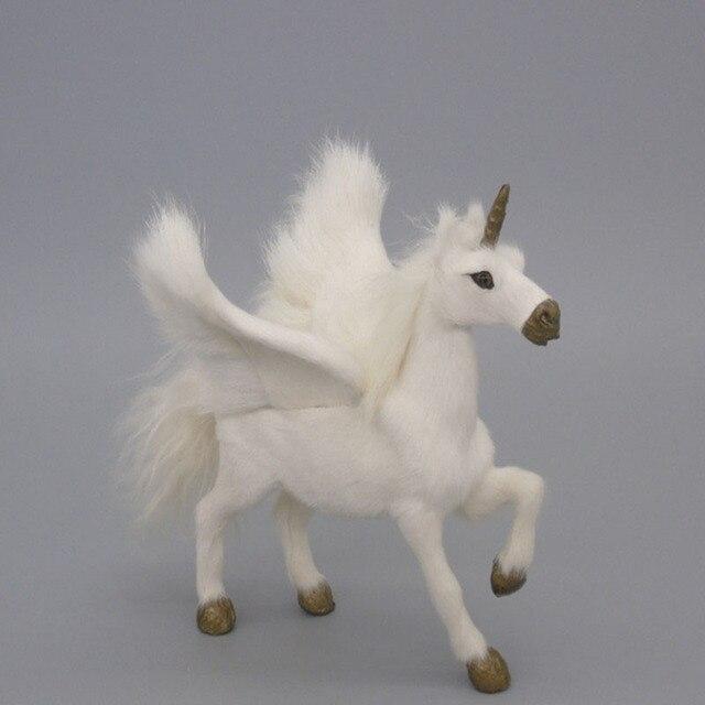 Novelty Simulation Unicorn Toys Real Fur Pegasus Dolls Flying Horse
