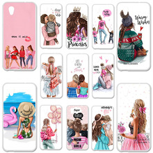 Soft TPU Case For Alcatel 1 Cover 5033D 5033 5033A 5033Y 5033X 5.0 Bumper Black Brown Hair Baby Mom Girl