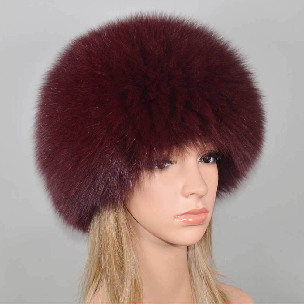 Image 3 - Women Winter Natural Real Fox Fur Hat Elastic Warm Soft Fluffy Genuine Fox Fur Cap Luxurious Quality Real Fox Fur Bomber Hats-in Women's Bomber Hats from Apparel Accessories