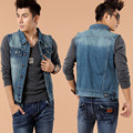 Men's Spring Autumn Slim Blue Denim Jackets Classics Washed Sleeveless Jeans Trucker Jacket Male Plus Size Jean Vest Waistcoat