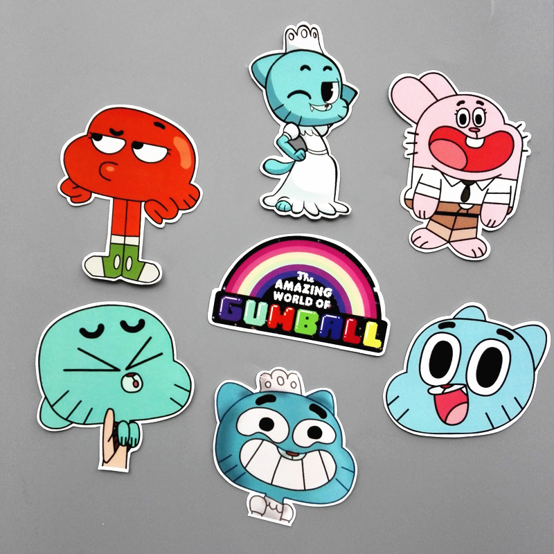 anime wonderful world - TD ZW 14Pcs/set Funny Anime The Amazing World of Gumball Sticker For Car Laptop Backpack Motorcycle Phone Decal Kids Toy Sticker