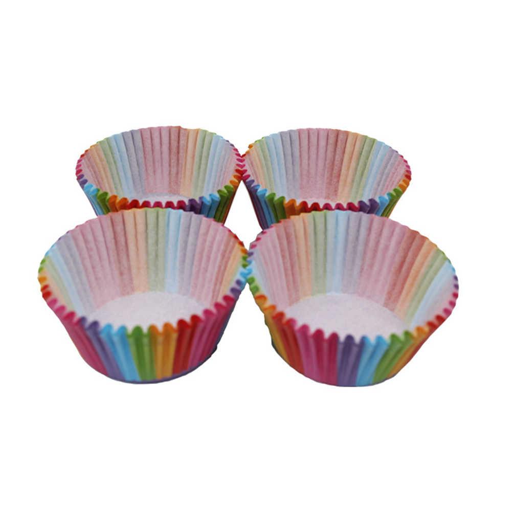 جديد 100 قطعة صندوق ملون للورق كعكة كب كيك اينر تزيين أدوات ورقة كب كيك الخبز الكعك حالة كأس علبة حفلات قالب الكعكة