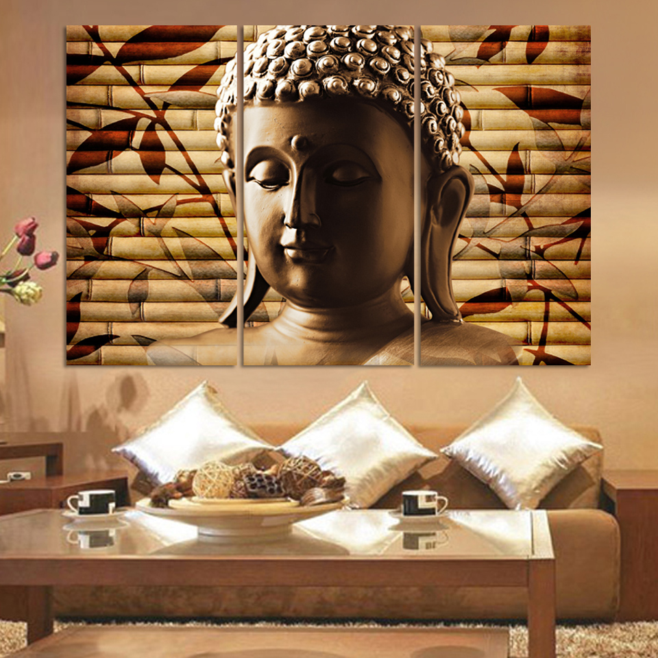 Free shipping buddha art canvas wall art buddha picture for Decorative paintings for living room